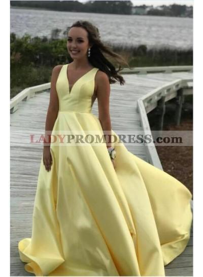 2021 Cheap A Line Satin Light Yellow Sweetheart Long Prom Dress