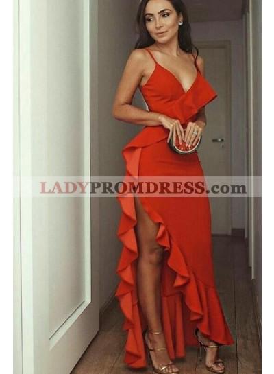 Charming Red Sheath Sweetheart Ruffles Sweetheart Asymmetrical Prom Dress 2021