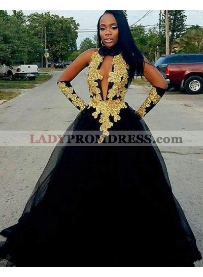 Cheap A Line Black and Gold High Neck Tulle Key Hole Backless African American Prom Dress 2021