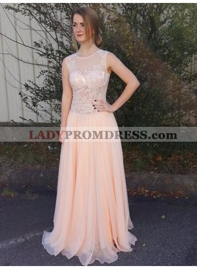Cheap A Line Chiffon See Through Peach Lace Prom Dress 2021