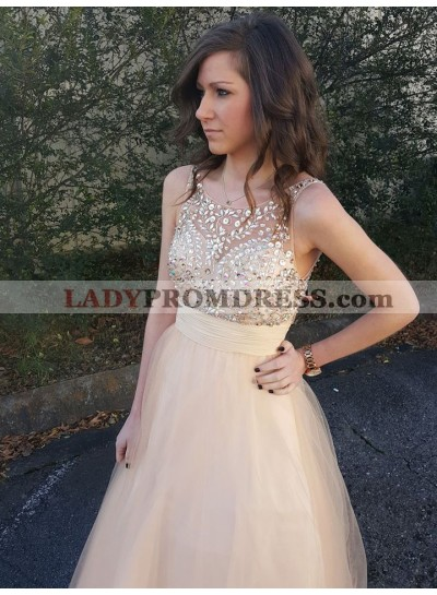 2021 A Line Cheap Tulle Peach Beaded Backless Long Prom Dress
