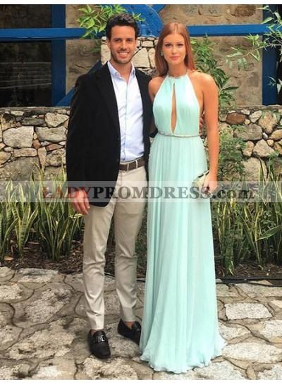 2021 Newly A Line Chiffon Mint Green Halter Backless Long Prom Dress