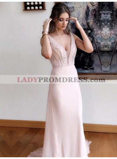 2020 Elegant Blushing Pink Sheath V Neck Beaded Chiffon Long Prom Dress