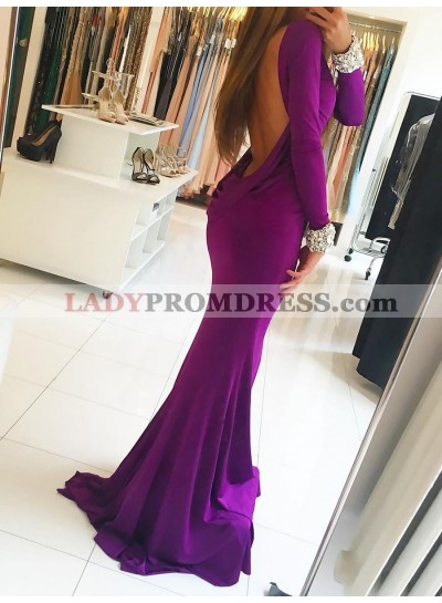 Charming Mermaid Purple Long Sleeves Round Neck Backless Prom Dress 2020