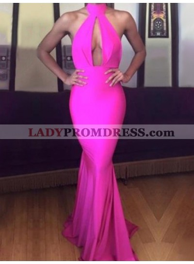 2021 Sexy Mermaid Pink High Neck Key Hole Backless Long Prom Dress