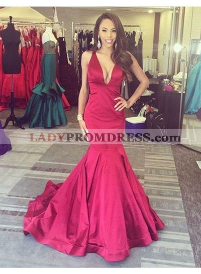 2020 Sexy Mermaid Red Satin V Neck Backless Long Cheap Prom Dress