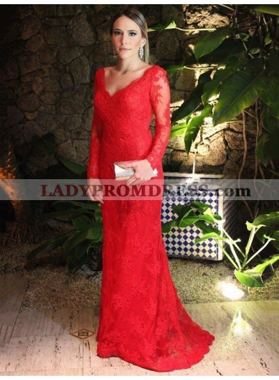 2021 Elegant Sheath Long Sleeves Red Lace Backless Sweetheart Prom Dress