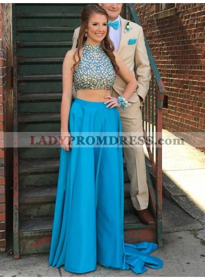 2021 Elegant A Line Satin Blue High Neck Backless Beaded Two Piece Prom Dress