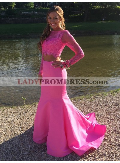 Amazing Mermaid Long Sleeve Satin Lace Two Pieces Long Pink Prom Dress 2020