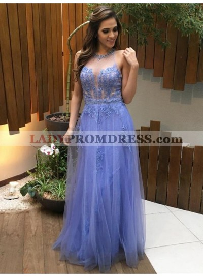 2021 Cheap A Line Tulle Lavender Sweetheart Scoop Prom Dress With Appliques