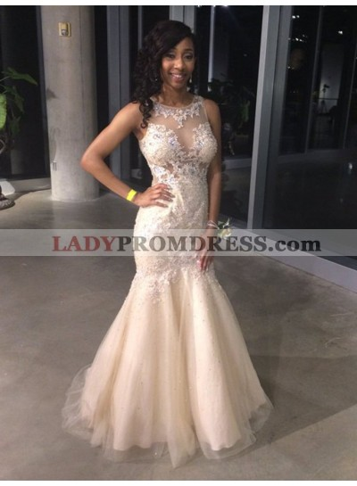 Sexy Mermaid Pearl Pink Tulle Scoop Long Prom Dress With Appliques 2021