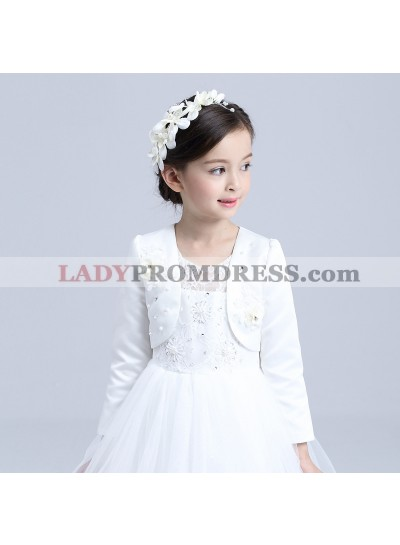 Satin White Long Sleeves Pearls Flowers First Communion Girl's Wrap