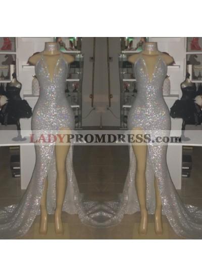 2020 Sexy Silver Halter V-neck Side Split Sequins Prom Dresses