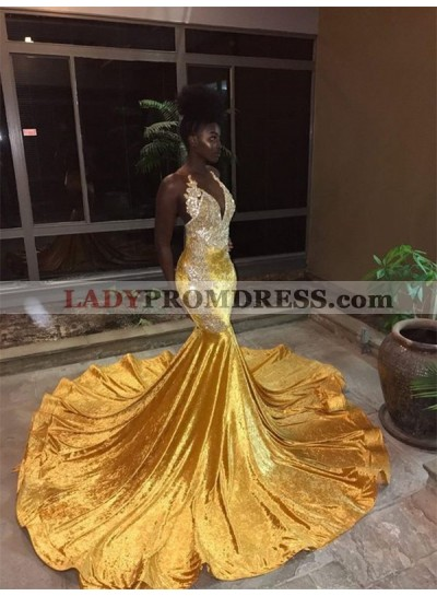 2019 Yellow Halter Backless Mermaid Beads Sweep Train V-neck Prom Dresses
