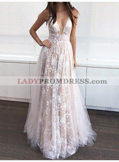 2019 Low Cut Tulle Brown Lace Sequined Sleeveless Prom Dresses