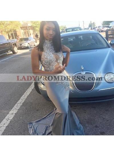 2019 Jewel Silver Sheer Applique Mermaid Sleeveless Prom  Dresses
