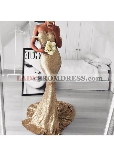 2020 Off Shoulder Sweetheart Mermaid Sweep Train Backless Prom Dresses
