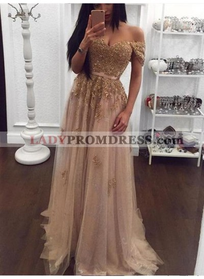 2019 Off shoulder Sweetheart Beads Tulle A-Line Sexy Prom Dresses