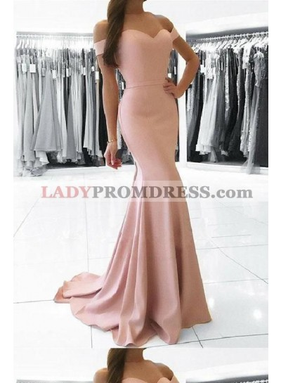 2019 Sweetheart Pink Bodice Mermaid Off Shoulder Prom Dresses