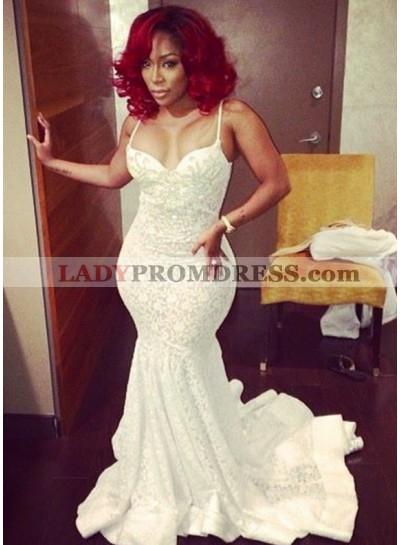 2019 Ivory White Spaghetti Strap Sleeveless Bodice Mermaid Prom Dresses