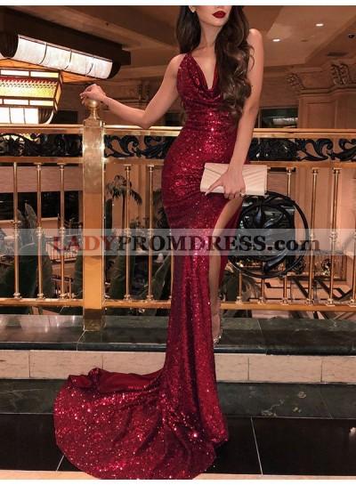 Mermaid V Neck Ruffle Backless Side Split Sleeveless Red Sequined Prom Dress