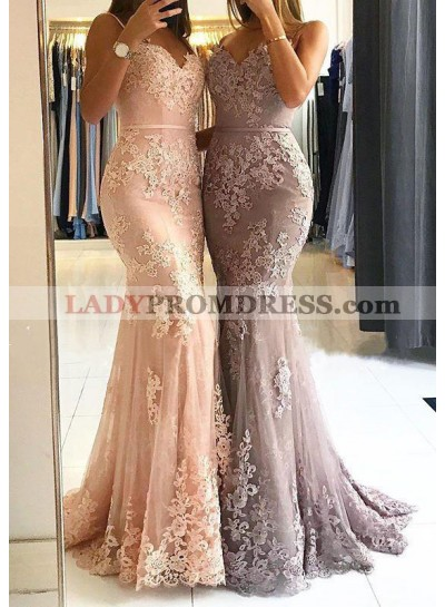 Sweetheart Sleeveless Mermaid Tulle Lace Backless Elegant Prom Dress