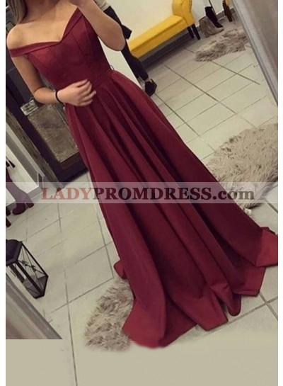 A Line Off Shoulder Sweetheart Pleated Ruffle Red Sweep Prom Dress