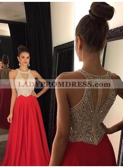 Sleeveless Round Neck Beading Pleated A Line Jewel Shining Prom Dress
