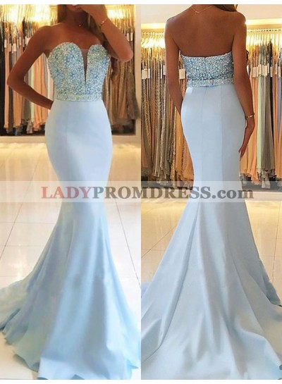 Off Shoulder Sweetheart Mermaid Beading Backless Sleeveless Prom Dress
