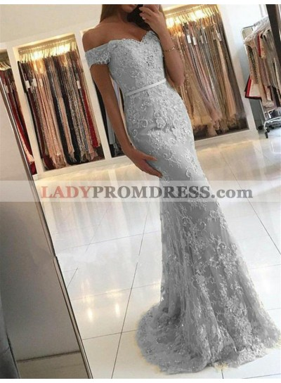 Off Shoulder Lace Mermaid Sweetheart Cold Shoulder Floor Length Prom Dress