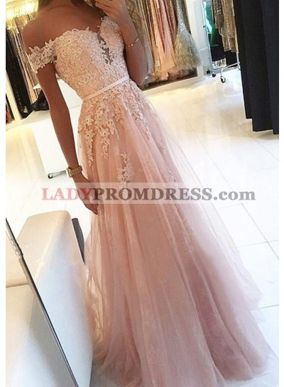 Tulle Layered Sweetheart Off Shoulder Lace Beading Pink Prom Dress
