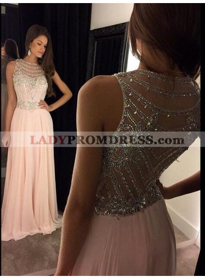 A Line Jewel Sheer Round Neck Sweetheart Ruffle Beading Pink Prom Dress