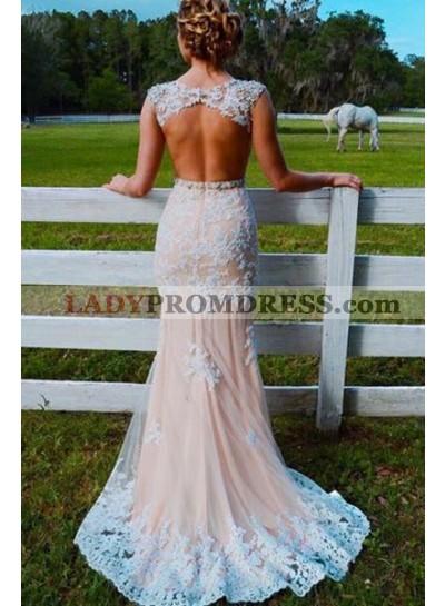Sweetheart Sheer Lace Mermaid Backless Beaded Sash Tulle Floor Length Prom Dress