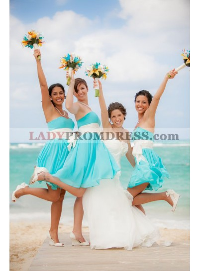 2021 Cheap A Line Strapless Chiffon Blue With White Sash Short Bridesmaid Dresses / Gowns