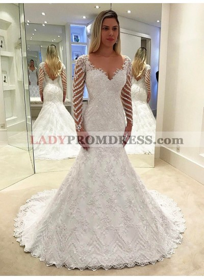 Backless Mermaid White Beaded Applique Chapel Train Lace Wedding Dresses