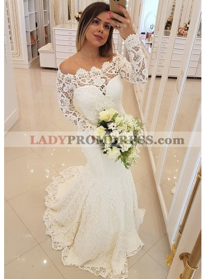 Lace Long Sleeve Beige Sweetheart Mermaid Off Shoulder Wedding Dresses