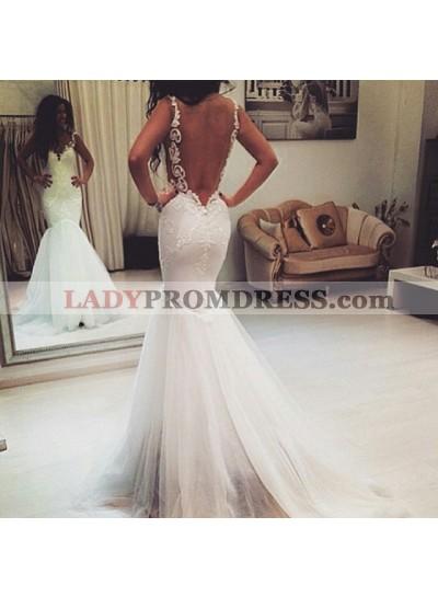Spaghetti Strap White Backless Mermaid Tulle Bodice Wedding Dresses