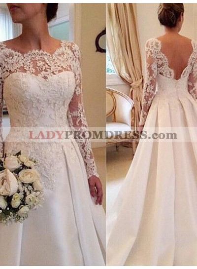 Sheer Long Sleeve Lace Backless Sweetheart Pleated White Wedding Dresses