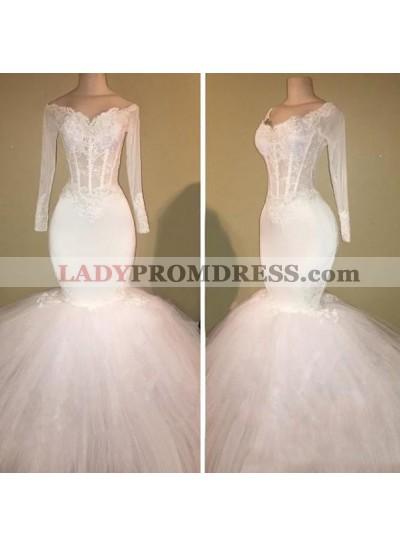 Long Sleeve White Off Shoulder Mermaid Droped Tulle Applique Wedding Dresses
