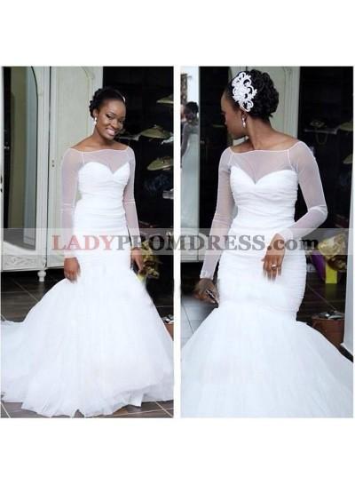 White Sheer Long Sleeve Ruching Mermaid Sweetheart Wedding Dresses