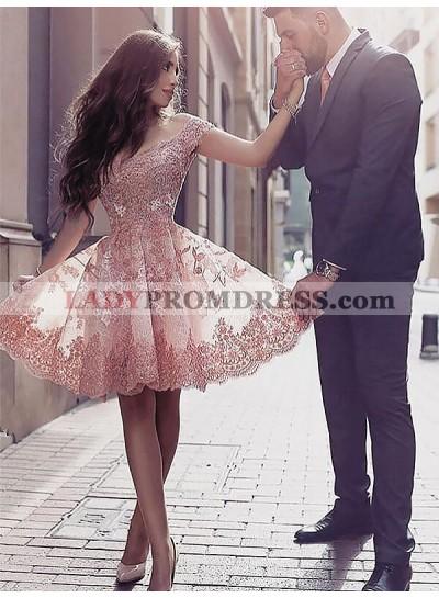 Knee Length Off Shoulder A Line Applique Pleated Wedding Dresses