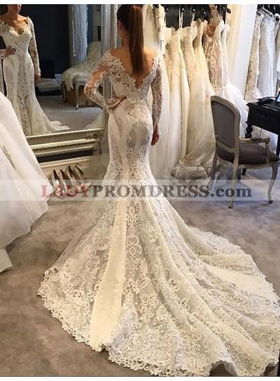 V Neck Long Sleeve Backless Lace Royal Train Applique Mermaid Wedding Dresses