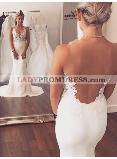 Backless V Neck Sleeveless Mermaid Empire Court Train Applique Wedding Dresses