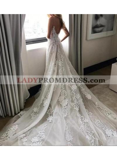 Backless V Neck Spaghetti Straps Royal Train Applique Tulle Wedding Dresses