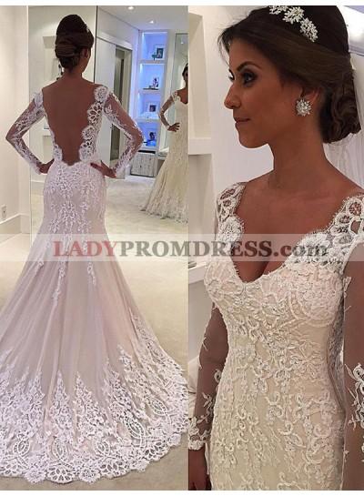 Sheer Long Sleeve Beige V Neck Sweetheart Mermaid Chapel Train Backless Wedding Dresses
