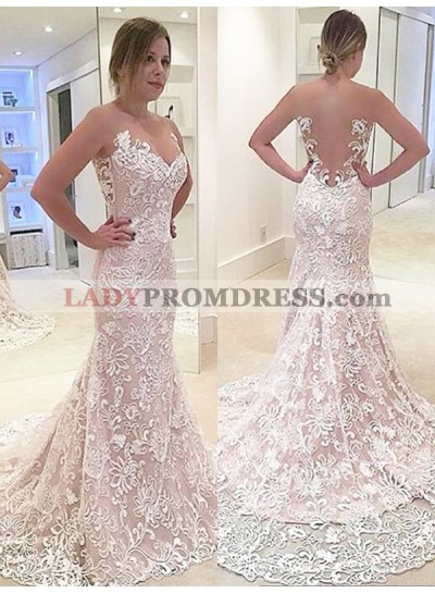 Champagne Lace Sweet Heart Backless Mermaid Sleeveless Chapel Train Wedding Dresses