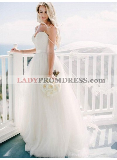 Sweetheart Ivory Spaghetti Straps Backless Tulle Applique Wedding Dresses