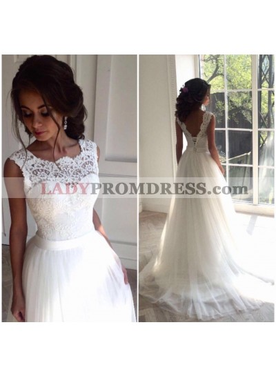 Sweetheart Regular Ivory A Line Tulle Backless Lace up Wedding Dresses