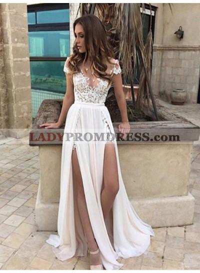 Applique Ivory Side Slit Floor Length Deep V Wedding Dresses