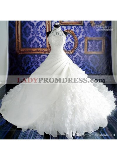 Ruching Tiers Sheer High Neck Sleeveless Lace Applique Backless Wedding Dresses
